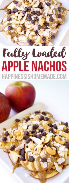 These loaded apple nachos are a delicious healthy snack idea - perfect for after school! Easy to make using lots of different yummy topping ideas!