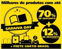 SARAIVA DAY! Ofertas exclusivas com até 70% de desconto: www.ofertasnodia.com  #ofertas #saraivaday