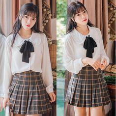 "Sweet chiffon bowknot blouse   Coupon code ""cutekawaii"" for 10% off"