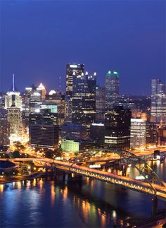 pittsburgh, home of the steelers, the colonial PA, with hard rock cafe, that there is the Allegheny River, and this picture was taken at Mt. Washington, a romantic place you take a gondola to the top and see this beautiful view of the city, Randy and I had a great time in this city :-) -Amy