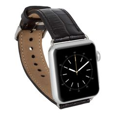 Genuine Leather Band for Apple Watch,  Husband Boyfriend Gift, Apple Watch Leather Band 38 mm, 42mm for 1 and Series 2 in CrokoBlack by IstanbulLeatherShop on Etsy
