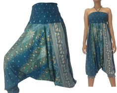 e0682636e9c Items similar to Women Harem Pants Trousers and Jumpsuit 2 in 1 Teal Green Boho  Pants Genie Pants Yoga pants Aladdin pants Sarouel Rayon Gypsy Pants  Peacock ...