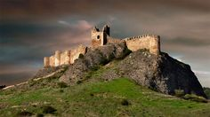 """CASTLES OF SPAIN - Castillo de Clavijo, castle, fortress near Logrono. The """"Batle of Clavijo"""", was fought near Clavijo, between Christians, led by Ramiro I of Asturias, and the Emir of Córdoba Abderramán II. In the legend, the apostle Saint James suddenly appeared and led an outnumbered Christian army to gain its victory. He became the patron saint of Spain and is known to Spaniards as """"Santiago Matamoros"""" (Santiago, the Moor-killer). Castle Ruins, Medieval Castle, Monuments, Paradise Landscape, Rioja Spain, Medieval Drawings, The Camino, Fairytale Castle, Spain And Portugal"""