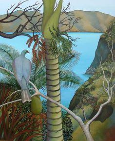 Tropical Art, Tropical Paintings, Bird Doodle, Bird Artists, New Zealand Landscape, New Zealand Art, Nz Art, Art Diary, Butterfly Wall Art