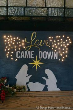 I've always wanted to try painting a Christmas canvas! And the more lights the better is the rule at Christmas, why not do a lighted canvas! There are lots of ways to do one of these…stencils and stick on letters are the easy way. I couldn't find a Christmas Banquet Decorations, Diy Christmas Lights, Christmas Diy, Church Decorations, Victorian Christmas, White Christmas, Christmas Trees, Vintage Christmas, Christmas Ornaments
