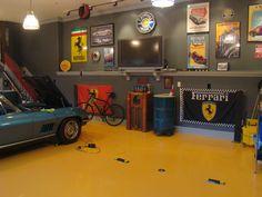 Ferrari themed garage. Love the yellow flooring!