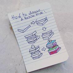 Risultati immagini per doodle a pile of books