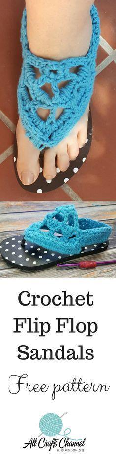 Crochet Gladiator Style Flip Flops - Free Pattern