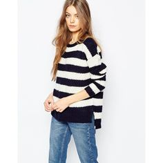 Brave Soul Striped Jumper (1,375 MKD) ❤ liked on Polyvore featuring tops, sweaters, navyecru, striped sweater, stripe top, white sweater, striped top and striped jumper