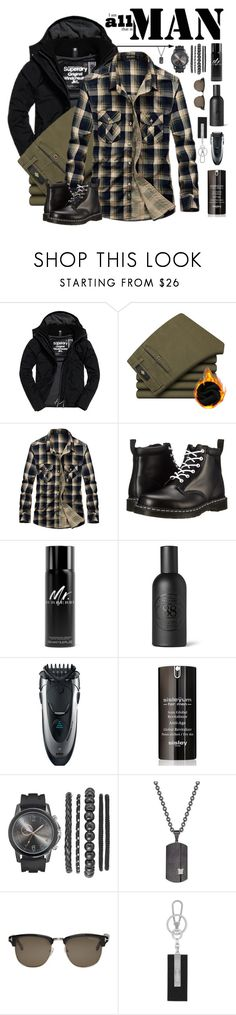 """""""Man Style"""" by nightowl59 ❤ liked on Polyvore featuring Superdry, Dr. Martens, Burberry, Czech & Speake, Braun, Sisley, Rhona Sutton, Tom Ford, Chopard and men's fashion"""