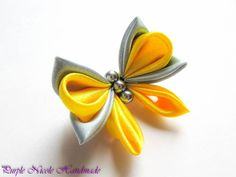 Butterfly - Handmade Broach by Purple Nicole (Nicole Cea Mov), yellow and grey kanzashi satin butterfly.