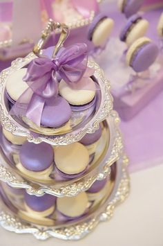 This purple and white French macaron arrangement is just perfect for a Sofia the First birthday party. Princess Sofia Birthday, Sofia The First Birthday Party, 3rd Birthday Parties, Princess Party, Girl Birthday, Birthday Ideas, Paris Birthday, Birthday Cupcakes, Purple Party
