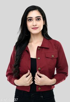 Checkout this latest Jackets & Waistcoat Product Name: *Fancy Cotton Blend Jacket For Women's Maroon* Fabric: Cotton Blend Sleeve Length: Three-Quarter Sleeves Pattern: Solid Multipack: 1 Sizes:  S, M (Bust Size: 36 in, Length Size: 17 in)  L, XL Country of Origin: India Easy Returns Available In Case Of Any Issue   Catalog Rating: ★3.9 (612)  Catalog Name: Fancy Fashionista Women Jackets & Waistcoat CatalogID_1973404 C79-SC1023 Code: 003-10733837-696