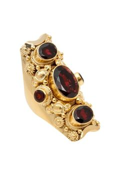 14k Gold Fancy Five Stone Garnet Ring by Soixante Neuf