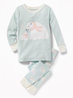 2-Piece Polar-Bear Graphic Sleep Set for Toddler & Baby