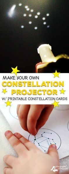 Study the stars with your preschooler! Learn how to turn your phone into a simple DIY constellation projector with our FREE printable constellation cards. Part of our Studying Stars series for Preschoolers. Preschool STEAM STEM Kids Activities S Kid Science, Preschool Science, Teaching Science, Science Activities, Science Experiments, Science Projects, Space Preschool, Science Space, Space Projects