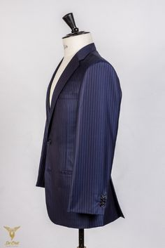 Wool Silk Bright Navy Plum Stripe 5 16 inch super 160's suit hand tailored (3).jpg