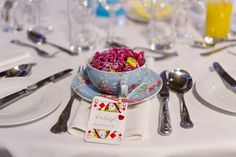 Alice in Wonderland Rainbow Wedding Place Name Cards Tea Cup Sweets http://www.nigeledge.com/