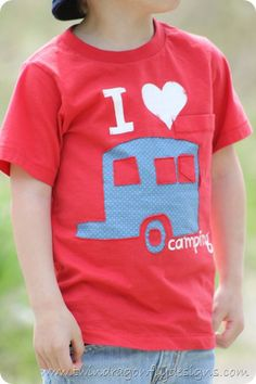 Camping T-shirt Tutorial, I should make these for my boys and hubs. He is already on me about camping this year.