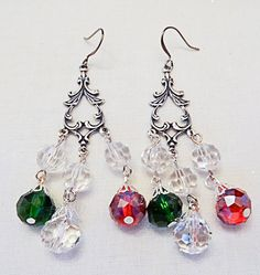 Christmas earrings, Christmas jewelry, crystal earrings, silver drop, red crystals, green crystals, clear crystals, China crystals