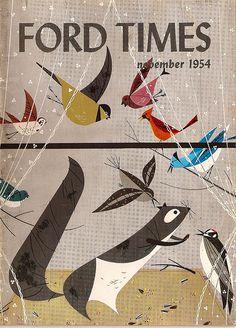 illustration, animal, bird, cardinal, bluejay, squirrel, design. charley harper, Ford Times 1954
