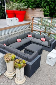 gray sectional, galvanized corrugated metal wall