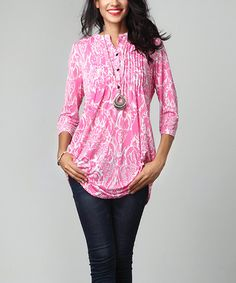 Look what I found on #zulily! Pink Floral Notch Neck Pin Tuck Tunic #zulilyfinds