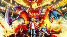 Red and a new team :D Garchomp Charizard Zoroark Lucario Pikachu and Pidgeot :p