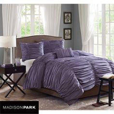 @Overstock - Chic and dimensional, this plum king-size comforter set from Madison Park features sophisticated ruched cotton construction. This billowing, soft comforter will lend elegance to any bedroom decor.http://www.overstock.com/Bedding-Bath/Madison-Park-Melrose-Plum-4-piece-King-size-Comforter-Set/6603736/product.html?CID=214117 $119.99