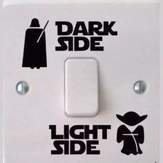 Funny Vinyl Switch Stickers Decal STAR Wars Dark Light Side Star Classic Film light switch sticker, vinyl sticker, switch stickeRS - tecnology World