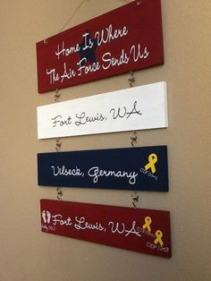 Home Is Where The .... Sends Us, Three locations,  Vinyl Sign. $40.00, via Etsy.