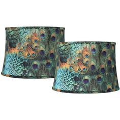 Set of 2 Peacock Print Drum Lamp Shades 14x16x11 (Spider) (435 DKK) ❤ liked on Polyvore featuring home, lighting, green, drum lamp shade, drum shade lighting, drum lamp-shade, drum light shade and green lamp