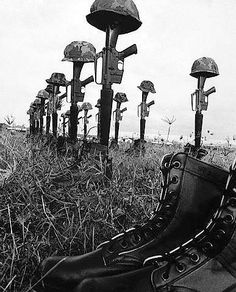 Helmets, rifles and jungle boots tell a grim tale of the action fought by the 1st Brigade, 101st airborne paratroopers in Operation Wheeler near Chu Lai. This battlefield memorial honors the soldiers killed during the offensive between September 11th and November 25th, 1967.