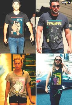 This is great, all the actors of recent DC movies wearing f*ck marvel shirts.