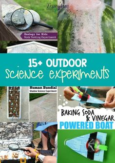 Outdoor Summer Science Activities and Experiments for Kids | True Aim. Summer is the perfect time to try student-led, textbook free learning! Experiment with the great outdoors with these 15+ outdoor science experiments. Kids can explore electricity, chemistry, geology, ecology, zoology, mechanics and more with these fun and easy hands-on summer science experiments for kids! Easy Science Experiments, Science Activities For Kids, Science Curriculum, Preschool Science, Science Lessons, Teaching Science, Science Projects, Science Fun, Learning Activities
