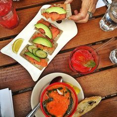 Gazpacho: why am I just letting you into my life now? I always thought - cold soup? Why would I want my soup cold? Now I realize I was wrong. Very wrong. Gazpacho and avocado and smoked salmon on buckwheat crackers @lepainquotidien. Second time I've ordered this. And I don't like repeating orders. But it's sooooo good. #lepainquotidien #westloop #frenchmarket #gazpacho #healthystaceyblog #glutenfree #paleoish #avocado