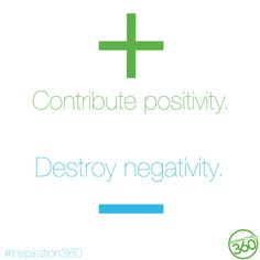 Contribute positivity. Destroy negativity. #MotivationalMonday #Inspiration360