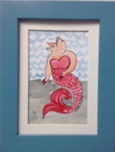 Pinterest inspired Merpig watercolor. Coletta Musick