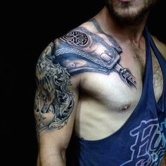 Cool Celtic Armor Plate Arm Tattoo On Guy