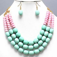Trendy Chunky Mint Green  Pink Layered Earrings Necklace Set Costume Jewelry