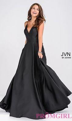 V-Neck Long A-Line JVN by Jovani Dress at PromGirl.com