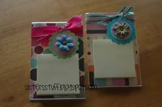 Post-It Note Holders by SistersStuff.  1) Get a plastic picture frame from the Dollar Store.  2) Put scrapbook paper in the frame.  3) Stick a stack of Post-It Notes on top of the frame.  4) Decorate with ribbon and a bauble.