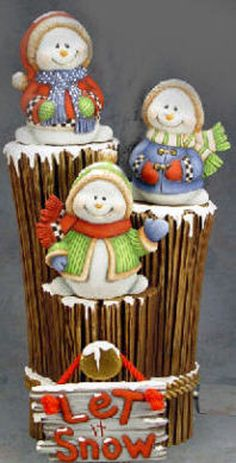 Ceramic Bisque Ready to Paint Three Snowmen on a Wood Stump