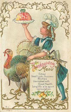 Vintage Thanksgiving menu