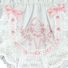 Calcinha bordado manual medalhão gota branco rosa 2c4b6fecd56