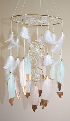 Baby Mobile Baby Girl Boy Mobile Feather Dreamcatcher