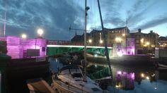 Lovely bridge #britishseaside #britshsummer #britishsummertime #southcoast  #lighting #bridge #purple #light #weymouth #dorset #dawn