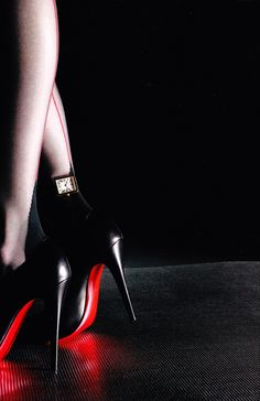 black and red shoes