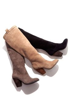 Soft suede and slouchy knee-high boots with a rounded toe, stacked heel and pull on tabs. Unlined for that effortlessly slouchy silhouette. by jacklyn