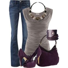 Purple Suede Heels and Purse with Jeans